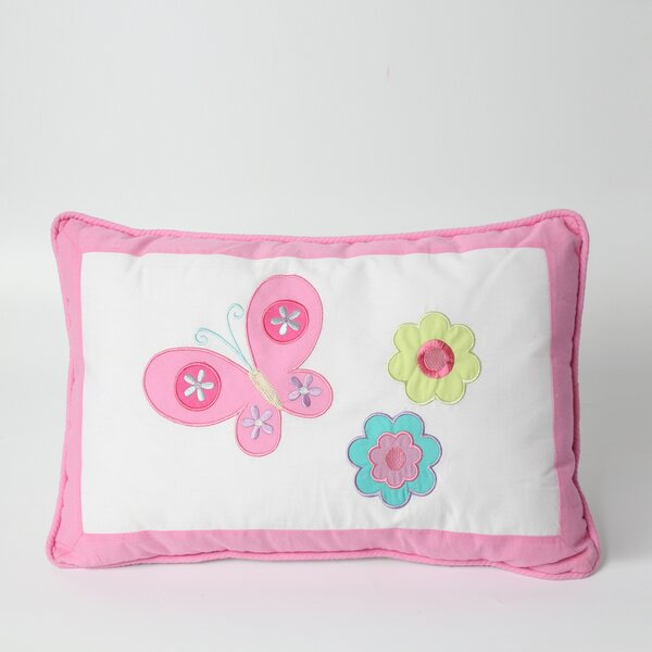 Butterfly Flower 100% Cotton Lumbar Pillow by Cozy Line Home Fashion